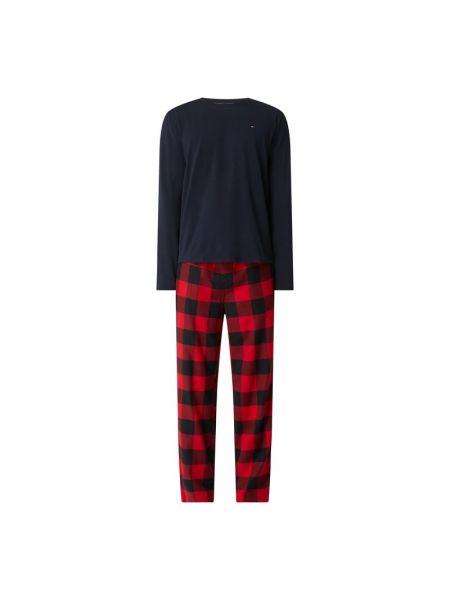 Spodni piżama bawełniana z długimi rękawami w kratę Tommy Hilfiger