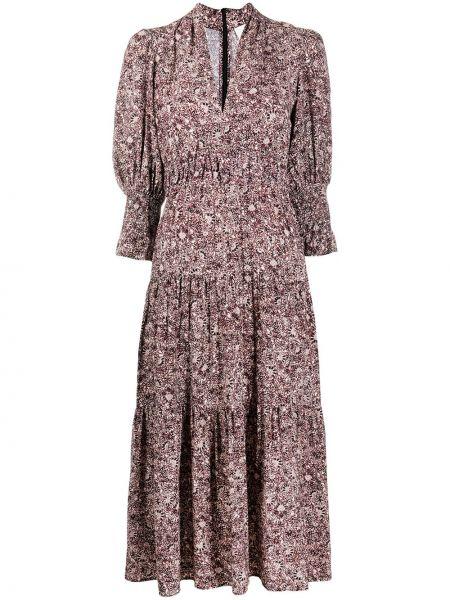 С рукавами розовое платье с V-образным вырезом из вискозы Ba&sh