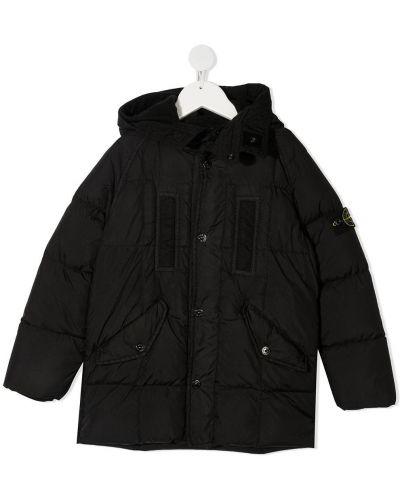 Черное пуховое пальто классическое с капюшоном Stone Island Junior