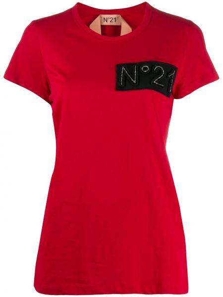 Красная прямая футболка с нашивками с круглым вырезом N°21