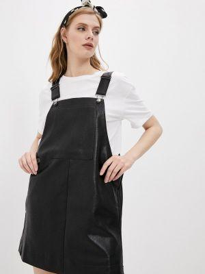Кожаное черное платье One Teaspoon