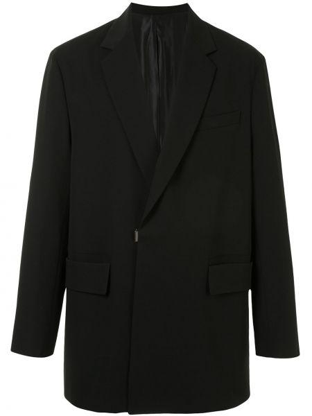 Черный деловой пиджак свободного кроя металлический Wooyoungmi