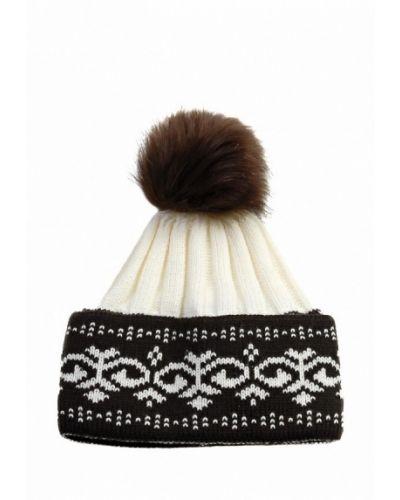 Коричневая шапка с помпоном Grezzo