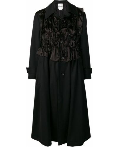 Черное длинное пальто с капюшоном на пуговицах Comme Des Garçons Noir Kei Ninomiya