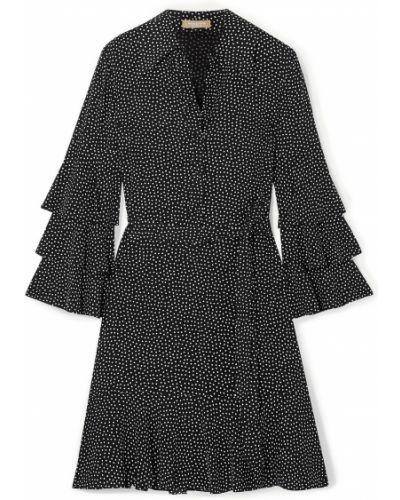 Шелковое черное платье мини с подкладкой Michael Kors Collection