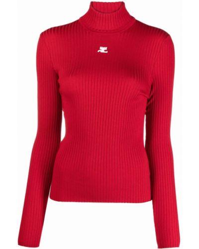 Красная водолазка с длинными рукавами с вышивкой Courrèges