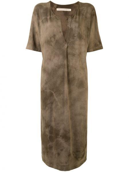 Коричневое прямое платье мини с вырезом с короткими рукавами Raquel Allegra