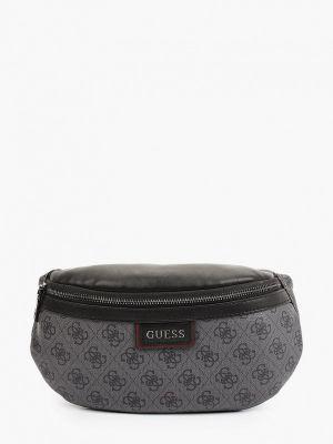 Серая кожаная поясная сумка Guess