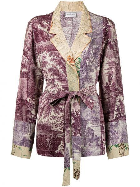 Фиолетовый халат из вискозы с лацканами Pierre-louis Mascia