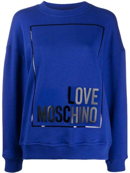 Топ с леопардовым принтом синий Love Moschino