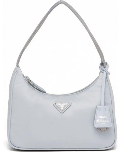 Голубая кожаная сумка Prada