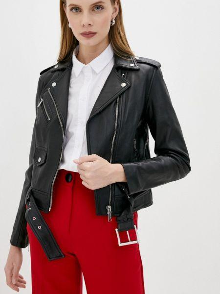 Кожаная черная кожаная куртка Michael Michael Kors
