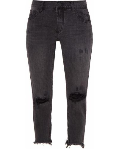 Прямые джинсы укороченные с эффектом потертости One Teaspoon