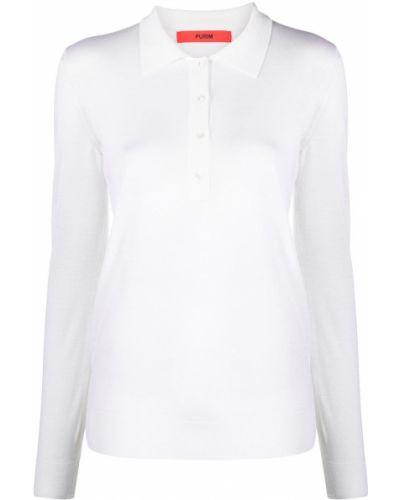 Белая рубашка с воротником с длинными рукавами Roberto Collina