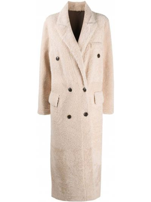 Приталенное кожаное пальто классическое двубортное Simonetta Ravizza