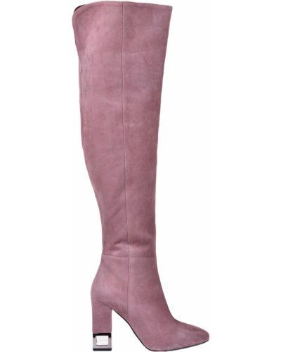 Кожаные ботфорты - розовые Albano