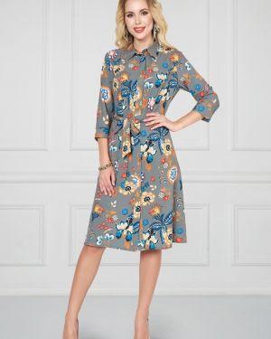 Платье с поясом на пуговицах классическое Bellovera