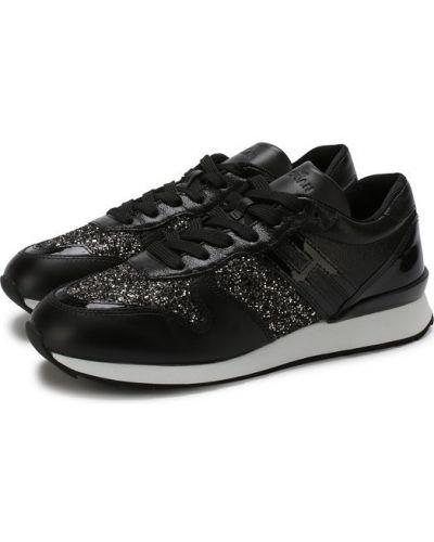 Кожаные кроссовки с глиттером на шнуровке Hogan