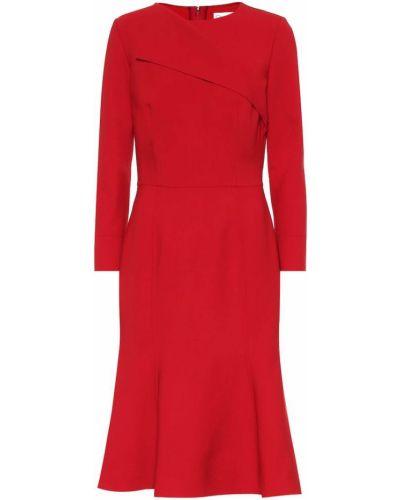 Платье миди в рубчик шерстяное Oscar De La Renta