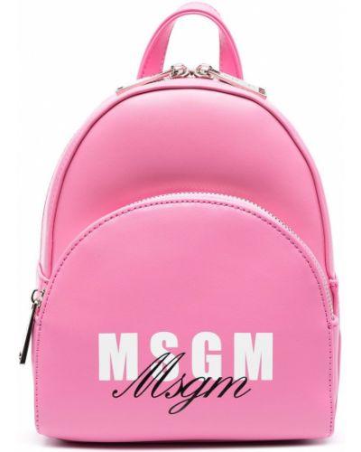 Розовый рюкзак с карманами на бретелях Msgm Kids