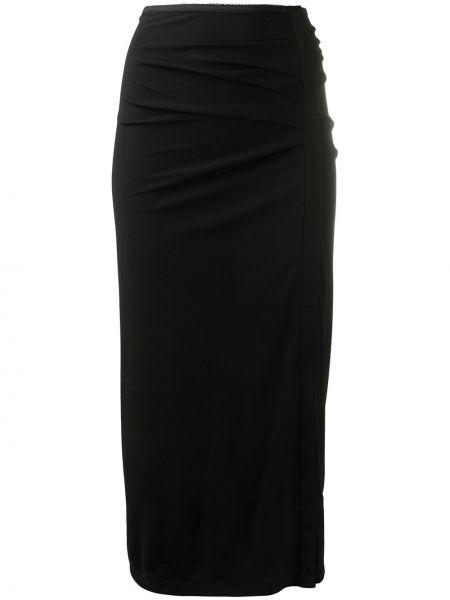 Облегающая черная юбка миди с оборками с разрезом Helmut Lang