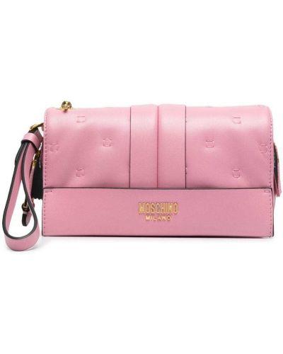 Złota różowa kopertówka Moschino