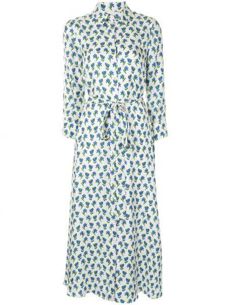 Шелковое белое платье миди с длинными рукавами Carolina Herrera