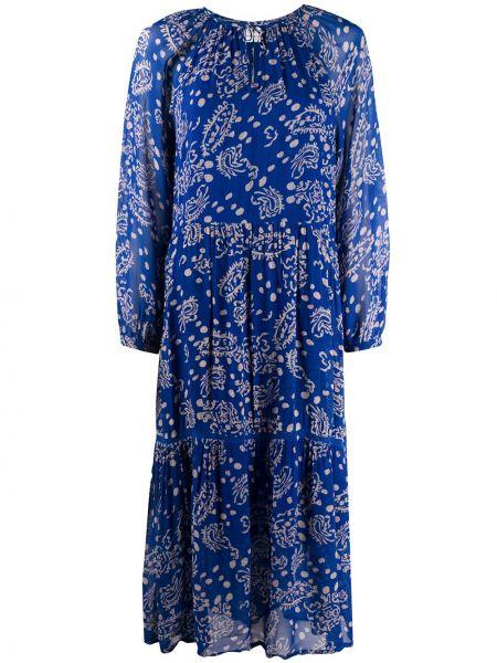 Свободное синее платье миди на пуговицах свободного кроя Cecilie Copenhagen