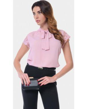 Блузка розовая с бантом Genevie