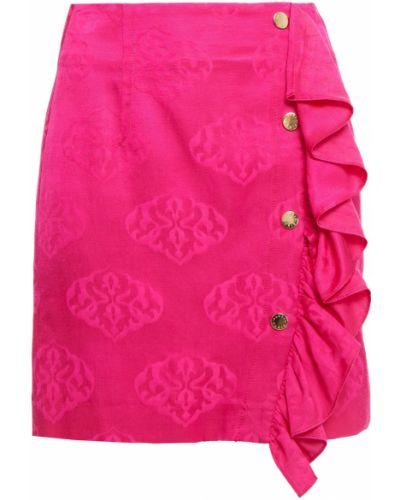 Розовая хлопковая юбка мини с подкладкой Sandro