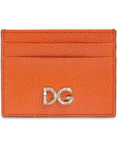 Оранжевая кожаная ключница со шлицей Dolce & Gabbana