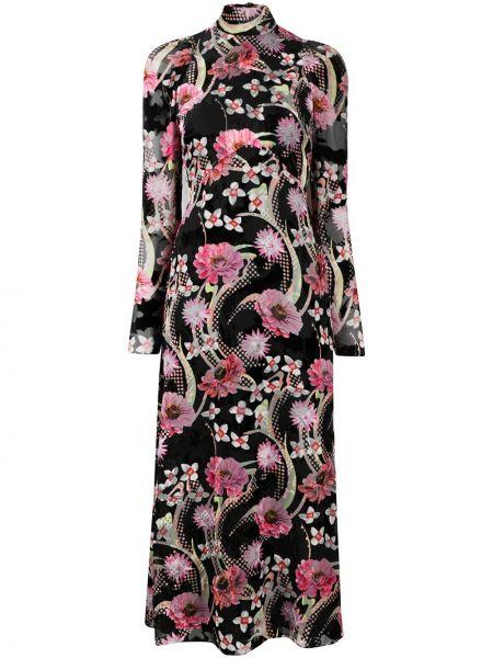 С рукавами черное шелковое платье миди с воротником Temperley London