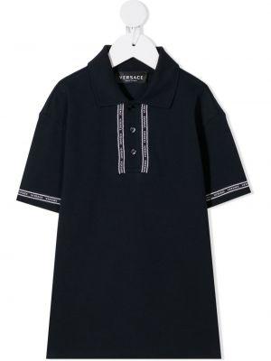 Czarne polo z haftem bawełniane Young Versace
