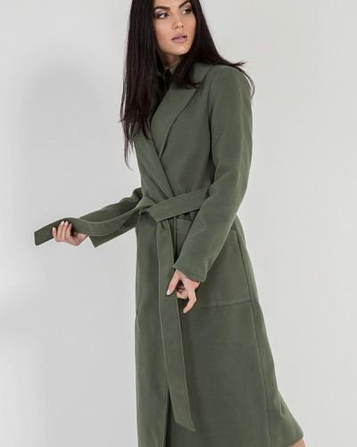 Пальто с капюшоном хаки Bessa