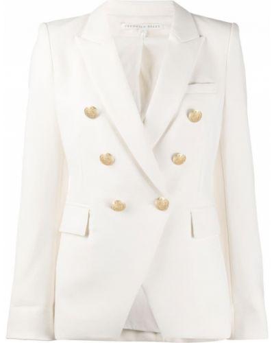 Белый пиджак с карманами из вискозы на пуговицах Veronica Beard