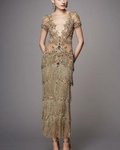 Вечернее платье мини с бахромой Marchesa