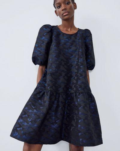 Синее платье с короткими рукавами Zara