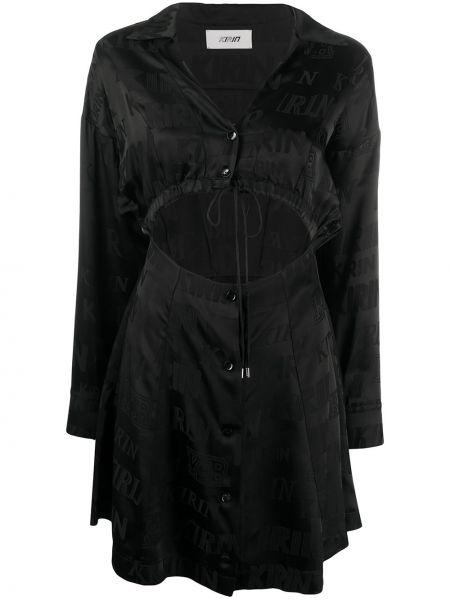 Czarna sukienka długa z długimi rękawami z wiskozy Kirin