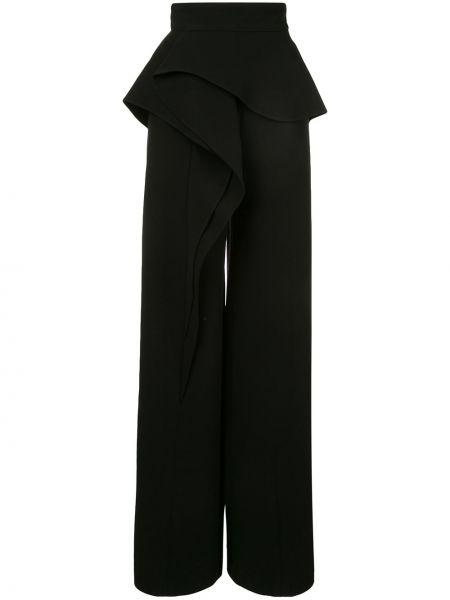 Черные расклешенные брюки на молнии с оборками Azzi & Osta