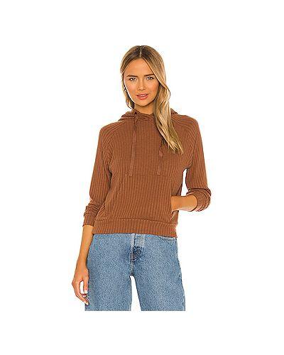 Шелковый коричневый свитер с капюшоном с завязками Enza Costa