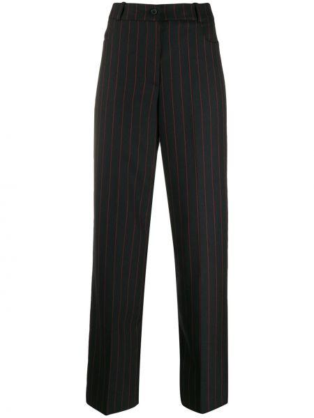 Черные прямые брюки с поясом на пуговицах Mcq Alexander Mcqueen