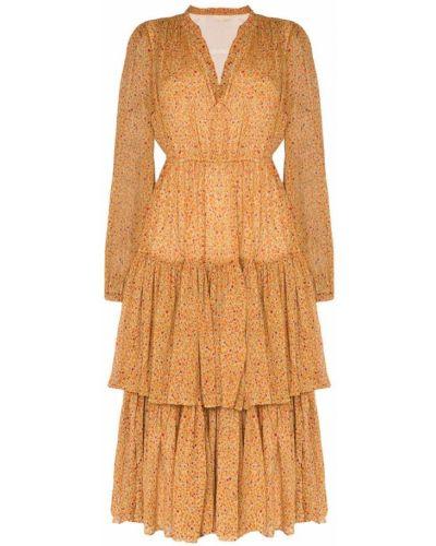 Платье миди винтажное на резинке на молнии By Timo