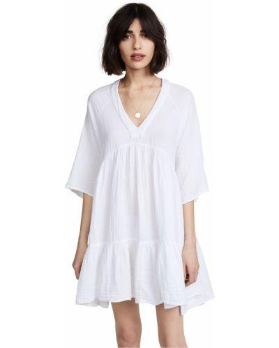 Мягкое хлопковое белое платье мини 9seed