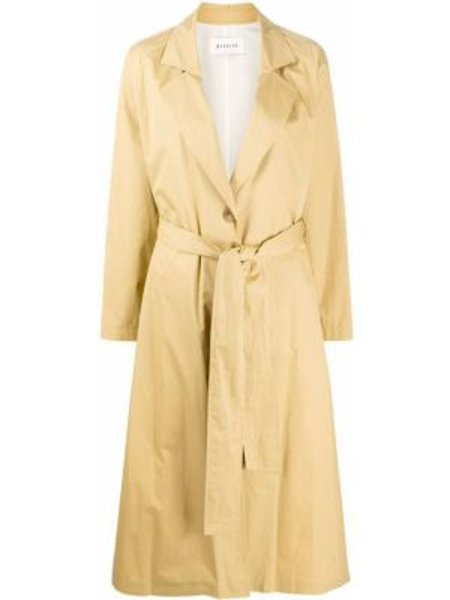 Бежевое длинное пальто с поясом с лацканами из вискозы Masscob