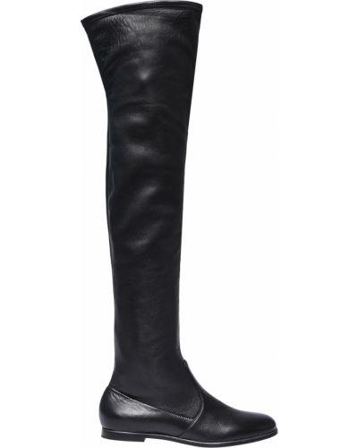 Черные кожаные ботфорты Fabi
