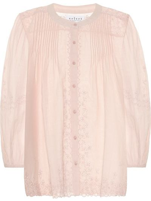 Ватная повседневная бархатная розовая блузка Velvet