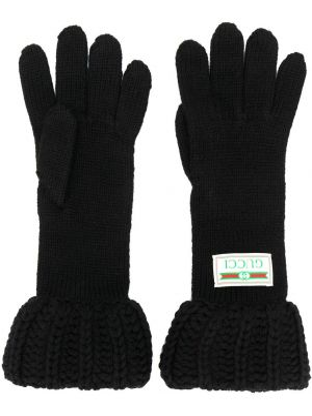 Шерстяные перчатки - черные Gucci