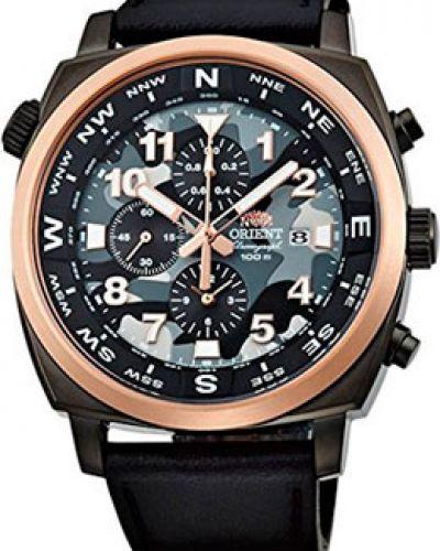 Часы с кожаным ремешком кварцевые водонепроницаемые спортивные Orient