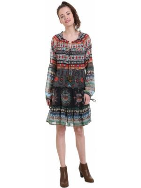 Платье мини с цветочным принтом с длинными рукавами Desigual