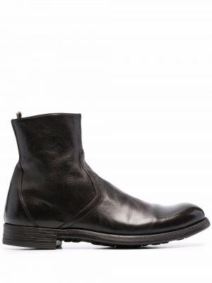 Gumowe brązowe ankle boots plaskie Officine Creative